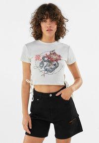 Bershka - T-shirt imprimé - blue - 0