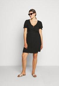 Cotton On Curve - WRAP MIDI DRESS - Day dress - black - 1