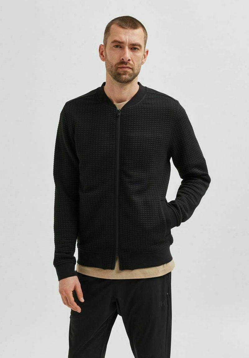 Selected Homme - Zip-up sweatshirt - black
