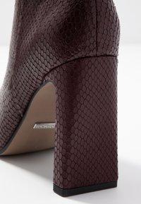 Topshop - HALIA SQUARE TOE - High heeled ankle boots - burgundy - 2