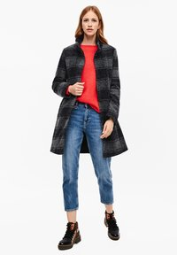 s.Oliver - MANTEL - Classic coat - navy check - 1