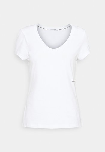 MICRO BRANDING OFF PLACED VNECK - T-shirts - bright white