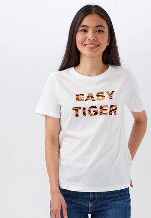 MAGGIE EASY TIGER - Print T-shirt - off- white