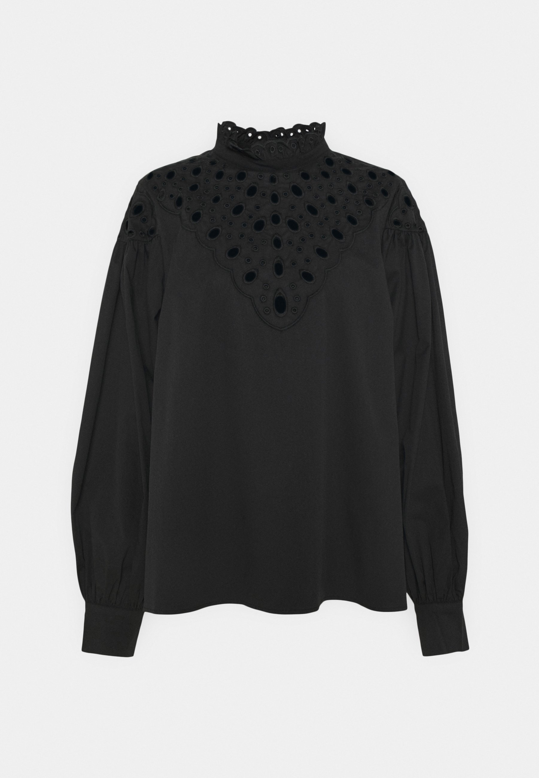 Women CUTWORK BLOUSE WITH PUFF LONG SLEEVES AND HIGH NECK - Blouse