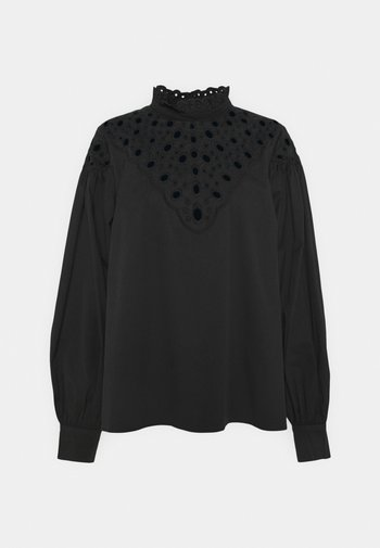 CUTWORK BLOUSE WITH PUFF LONG SLEEVES AND HIGH NECK