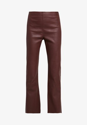 CEDAR PANT - Leather trousers - bitter chocolate