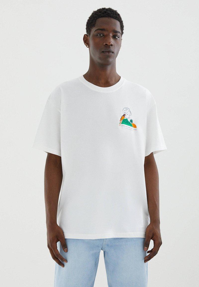 PULL&BEAR - Printtipaita - off-white
