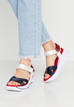 RAJA - Platform sandals - dark blue/white