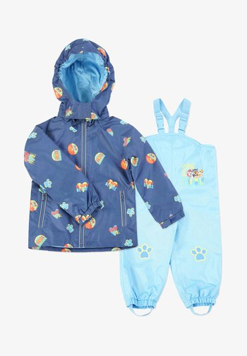 MATSCH UND BUDDELANZUG SET-Waterproof jacket - Rain trousers - marine print   blau