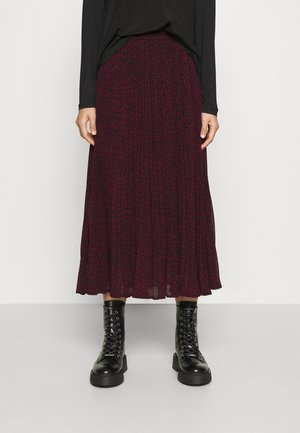 PLEATED CHEETAH SKIRT - A-snit nederdel/ A-formede nederdele - dark ruby