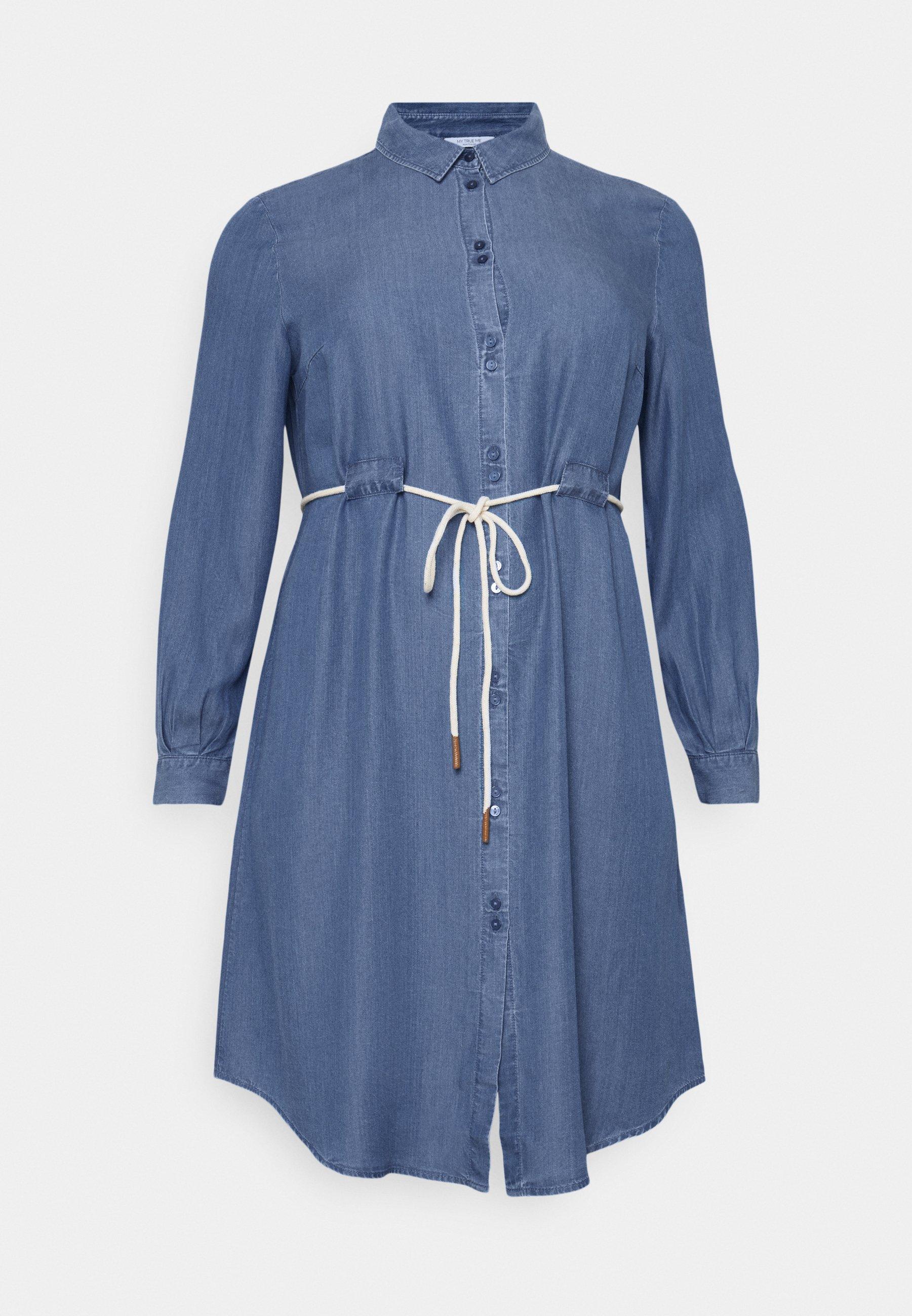 Women DRESS FLUENT WITH BELT - Denim dress