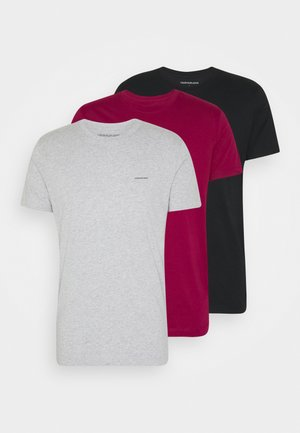 3 PACK  - T-shirts basic - black/grey/beet red