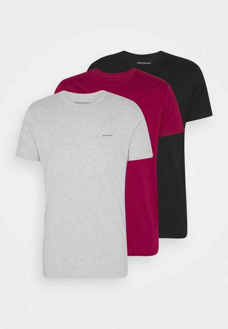 Calvin Klein Jeans - TEE 3 PACK  - T-shirt basic - black/grey/beet red