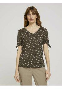 TOM TAILOR - Print T-shirt - khaki small floral design - 0