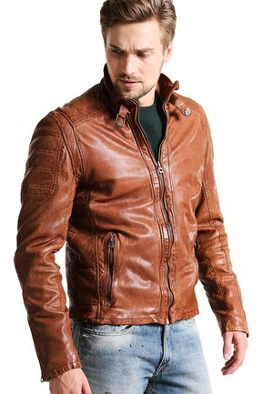 RAMOS - Leather jacket - cognac