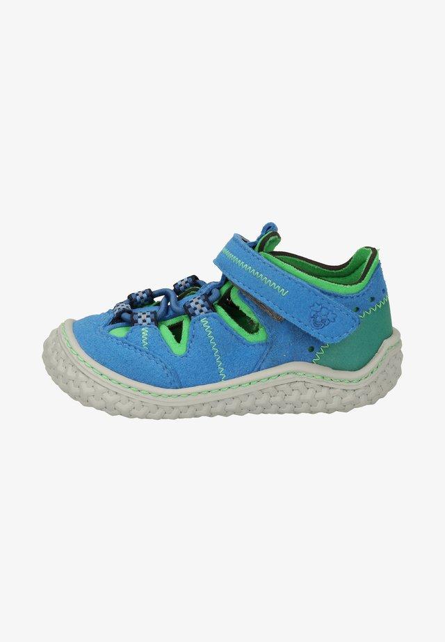 Sko med burretape - azur/neongrün