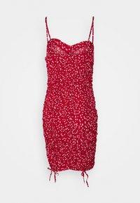 Missguided Petite - HEART PRINT RUCHED MINI DRESS - Shift dress - red - 1