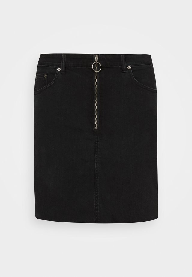 ZIPPER SKIRT - Jeansrok - black