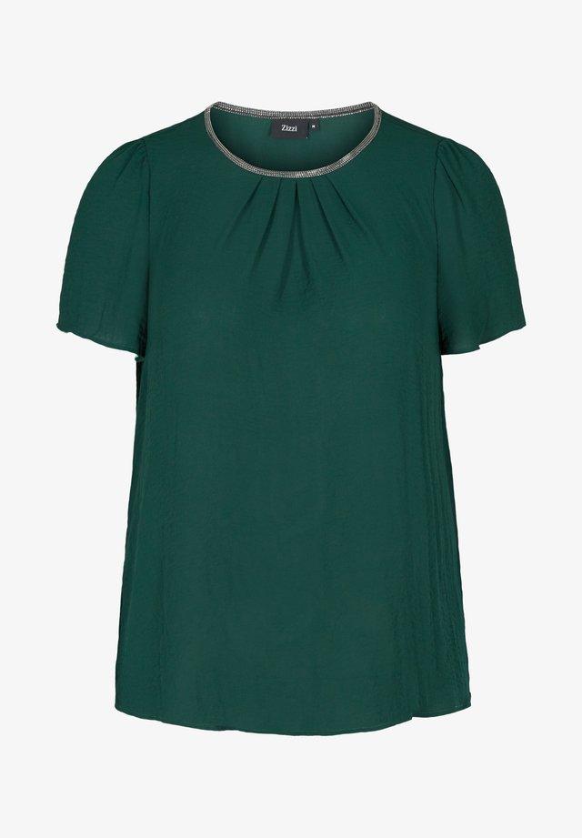 MIT KURZEN ÄRMELN - Bluse - dark green