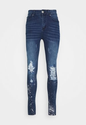 RIPPED WITH PAINT SPLATTER - Jeans Skinny Fit - blue