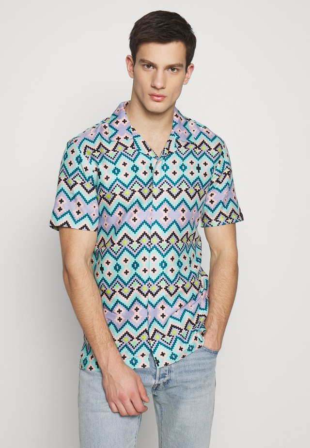 UNISEX AZTEC PRINTED JUNGLE SHORT SLEEVE - Skjorta - blue