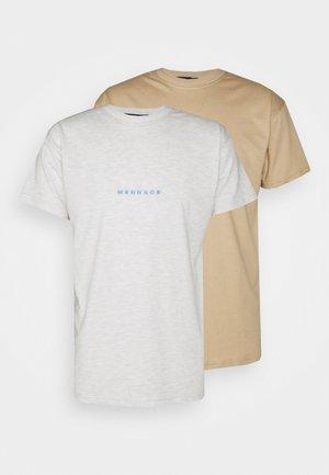 ESSENTIAL REGULAR 2 PACK UNISEX - Camiseta estampada - tan