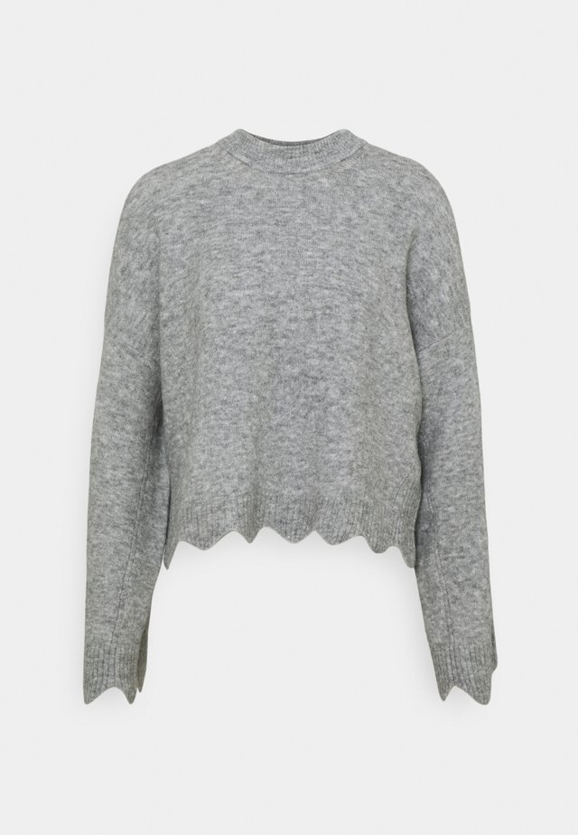 CREW NECK WITH SCALLOPS - Sweter - grey melange