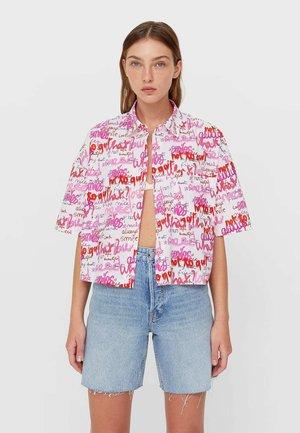 SHORT SLEEVE - Button-down blouse - light pink