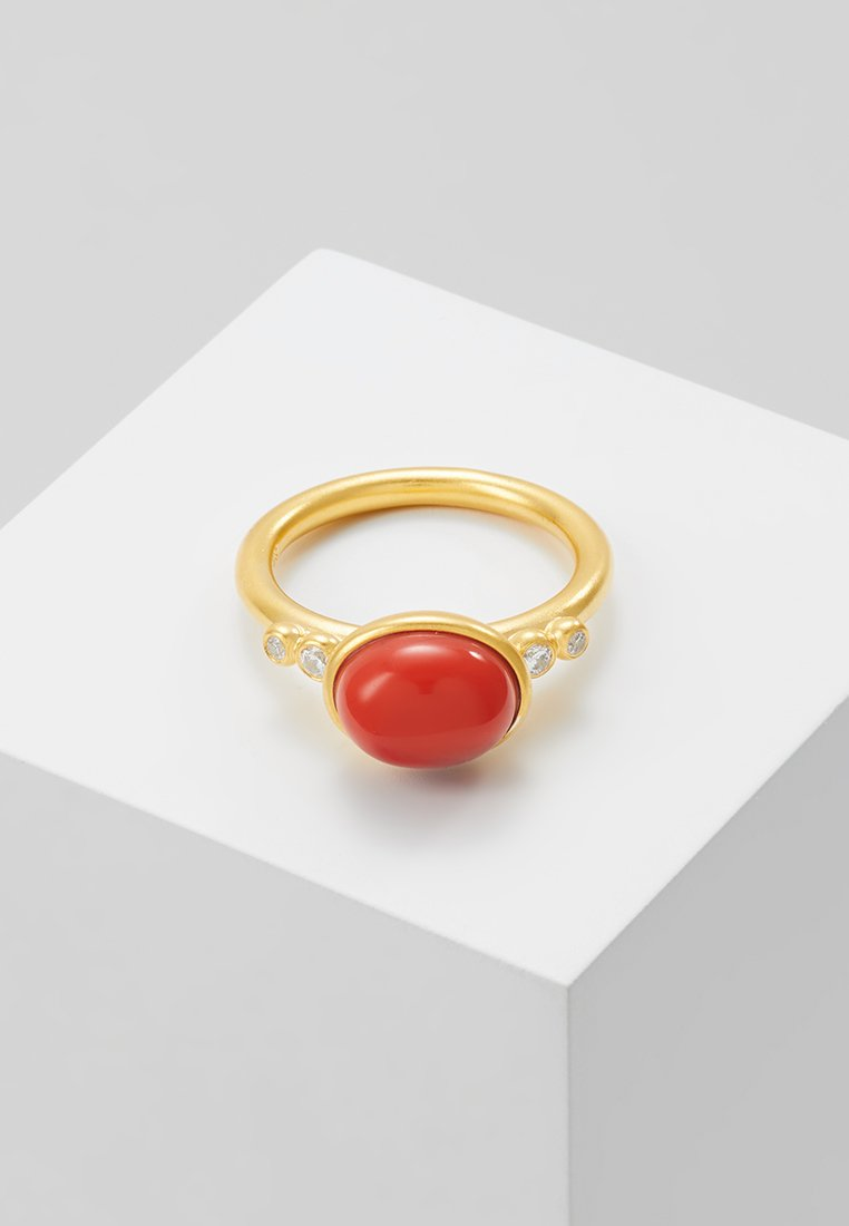 Julie Sandlau - POETRY RINGS - Anello - gold-coloured/red coral chrystal