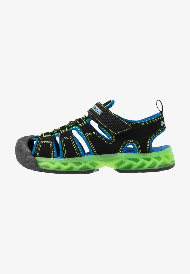 Skechers - FLEX-FLOW - Chodecké sandály - black/blue/lime