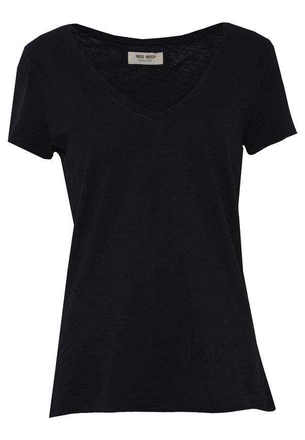 Mos Mosh ARDEN V NECK TEE - T-shirt basic - black Kolor jednolity Odzież Damska KWYG TY 7