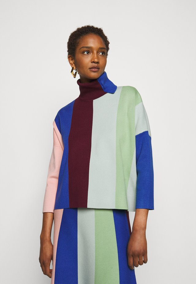 BLOCK STRIPE SOFT JUMPER - Pullover - wine/multi