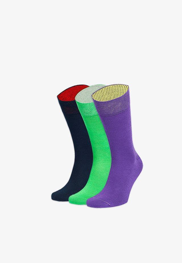 DREI MIT KLASSE 3 PACK - Chaussettes - blau,grün,lila