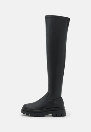 VEGAN GRACE COMBAT BOOT - Over-the-knee boots - black smooth