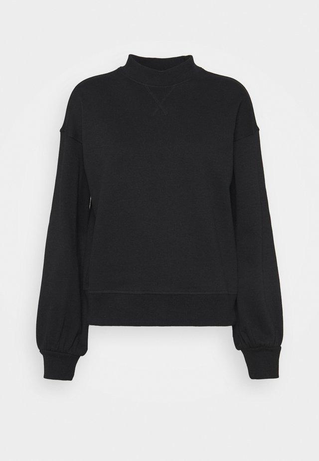 Crew neck puff sleeve sweater - Mikina - black