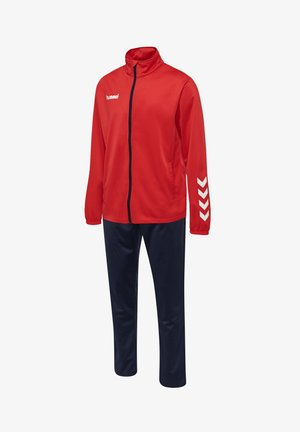 POLY SUIT - Tracksuit bottoms - true red/marine