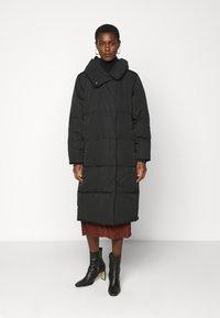 Object Tall - OBJLOUISE LONG JACKET - Down coat - black - 0