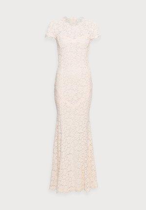 LONG LACE DRESS OPEN BACK SHORT SLEEVE - Vestido de fiesta - soft ivory
