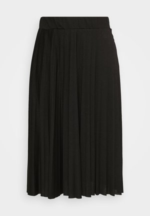 CURVE PLEATED BLACK MIDI SKIRT - A-line skjørt - black