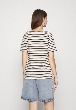 SLFHANNAH STRIPE TEE - T-shirts print - snow white/black