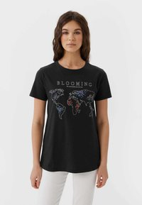 Stradivarius - 02593488 - Print T-shirt - dark grey - 0