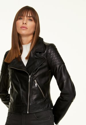 MIT WORDING-DETAIL - Leather jacket - black