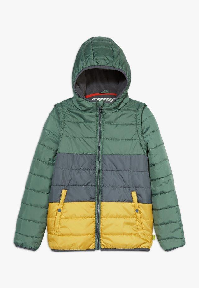 COLOURBLOCK PUFFER COAT GILET - Light jacket - dark blue/yellow