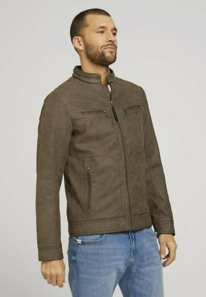 Faux leather jacket - dark brown fake leather
