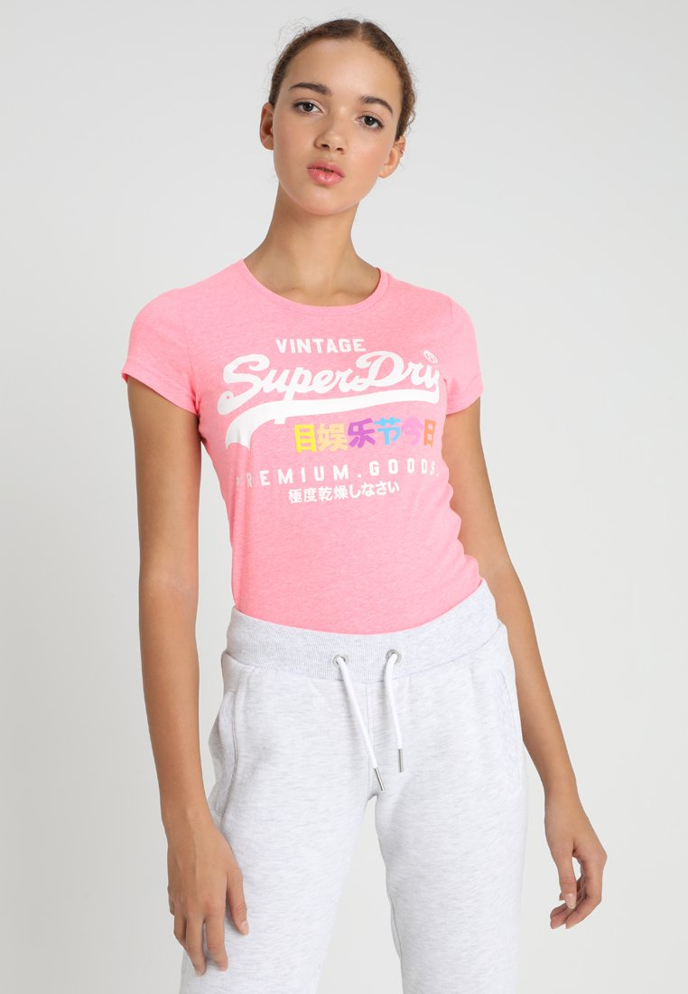 Superdry - PREMIUM GOODS PUFF ENTRY TEE - T-shirts med print - neon pink snowy