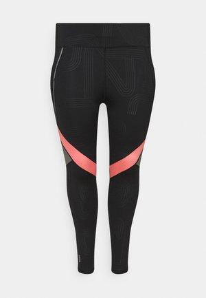 ONPJOKI TRAIN CURVY - Leggings - black/tea rose