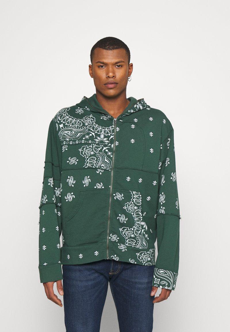 Jaded London - CUT AND SEW BANDANA HOODIE - Zip-up sweatshirt - green
