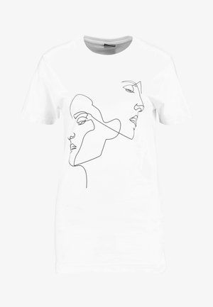 LADIES ONE LINE TEE - T-shirts med print - white