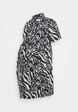 SMOCK DRESS ZEBRA - Shirt dress - black