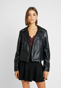 Pieces - PCRIONE BIKER ZIP JACKET - Faux leather jacket - black - 0